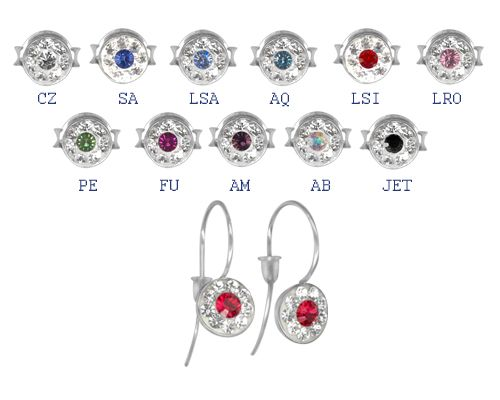 Swarovski kristályos orvosi acél fülbevalók ERBCJ