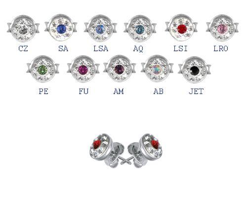 Swarovski kristályos orvosi acél fülbevaló - kicsi ESBCJ-S