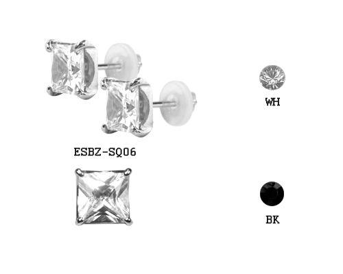 Masszív orvosi acél fülbevaló foglalt cirkóniakővel ESBZ-SQ06
