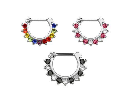 Septum és daith piercing ékszer cirkóniakristályokkal JSCX16