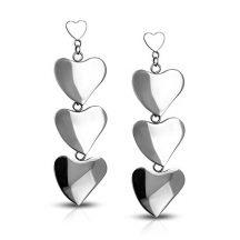 Fénylő szívek - nemesacél fülbevaló  AEES154