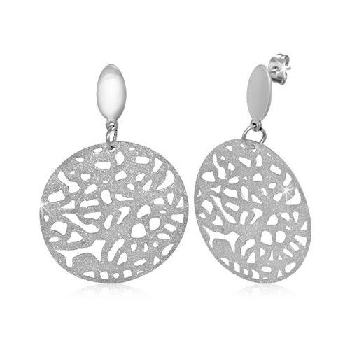 Sandblasted Filigree Circle Disc Steel Earring AEES163