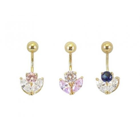 Gold Belly Button Ring with CZ Stones  BG17
