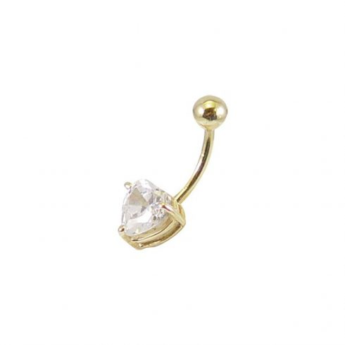 Gold Navel Piercing with Heart Shaped CZ - Yelow, White, or Rose Gold 14K