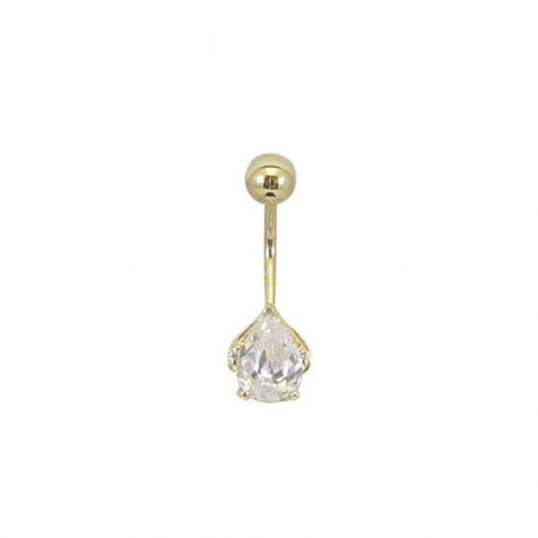 Gold Belly Button Ring With Cz Stone Bg24 Hallmark Piercing And Jewellery