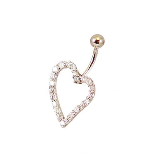 Asymmetrical Heart Gold Belly Button Ring with CZ Stones BG48