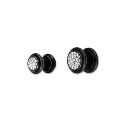 Fekete hamis fültágító Swarovski kristályokkal BK-CJRMUFP