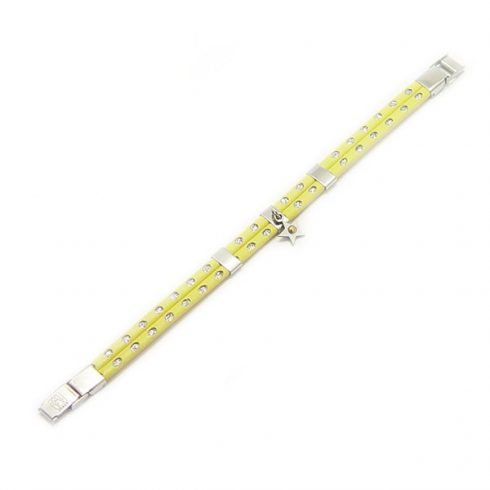 Yellow Leather Bracelet for Women with Stainless Steel Decoration BRD001PG