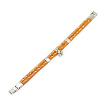 Narancsszínű bőr női karkötő nemesacél díszítésekkel BRD001PJ