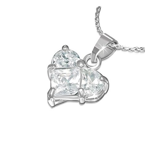 Fashion Necklace - Crystal Love Heart Charm CCZS373