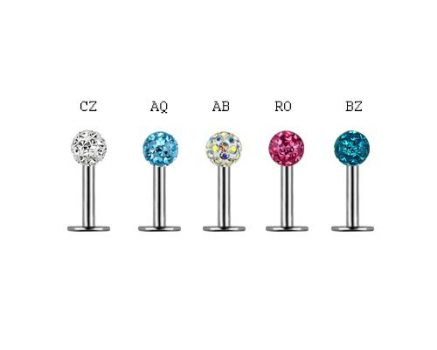 Ajak, tragus, helix piercing 4 mm-es kristálygolyóval CJLSN-05PL