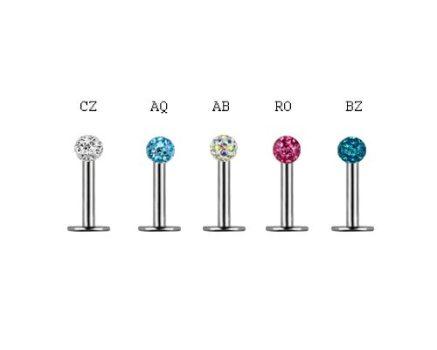 Ajakpiercing, tragus, helix biztonsági kristályokkal, 3 mm-es golyóval CJLSN-05XPL