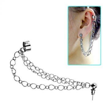 Láncos fülgyűrű golyós fülbevalóval, tripla lánccal CTER251