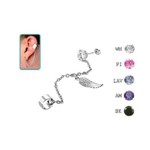 Láncos fülgyűrű 6 mm-es köves fülbevalóval, szárny medállal CTERDL11