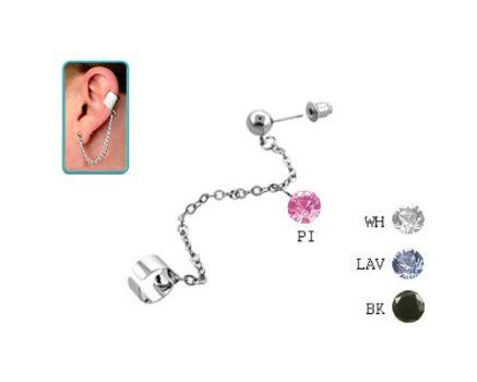 Láncos fülgyűrű gömbös fülbevalóval, kör alakú cirkóniamedállal  CTERDL13