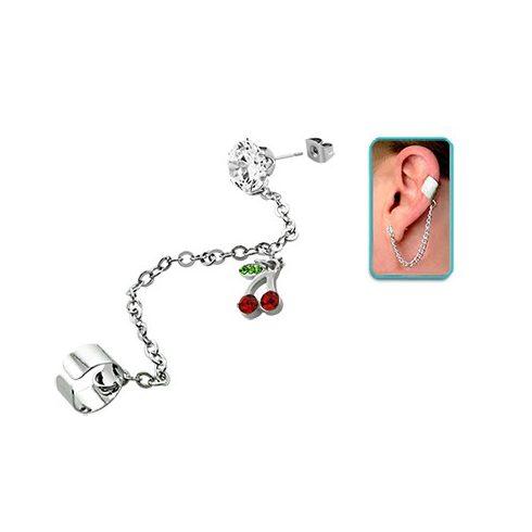 Láncos fülgyűrű köves fülbevalóval, cseresznye medállal CTERDL2