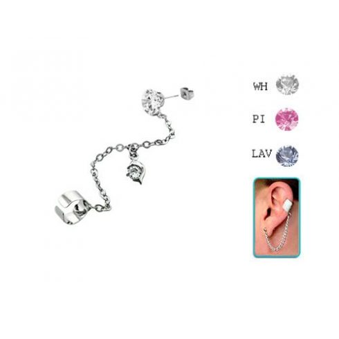 Láncos fülgyűrű köves fülbevalóval, delfin medállal CTERDL4