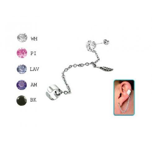 Láncos fülgyűrű 6 mm-es köves fülbevalóval, kis toll medállal CTERDL9