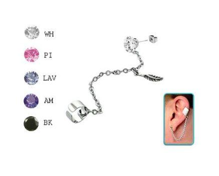 Láncos fülgyűrű 4 mm-es köves fülbevalóval, kis toll medállal CTERDL9