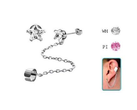 Láncos fülgyűrű 5 mm-es csillag alakú cirkóniás fülbevalóval CTERS
