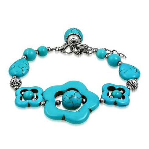 Turquoise Flower and Star Bali Bead Design Bracelet FBLS070