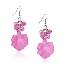 Pink, fazettált gyöngyfürtös divatfülbevaló virággal FEHS184