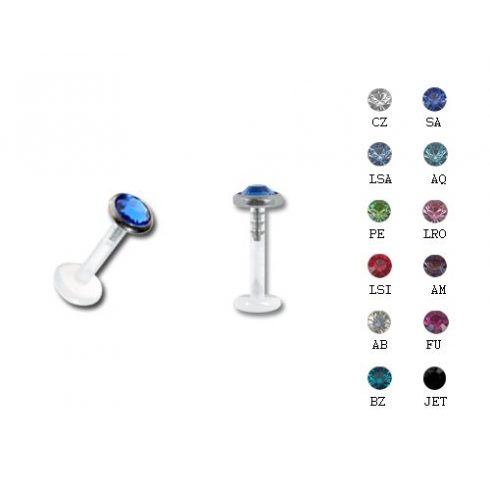 Bioplast labret with jewelled titanium attachment FLTAJ3FL