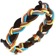 Többszínű zsinóros fonott bőr divatkarkötő FWLS986