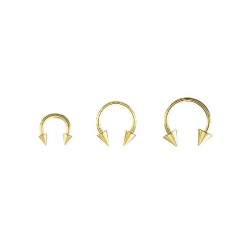 Gold plated circular barbell with spikes GP-BCSN