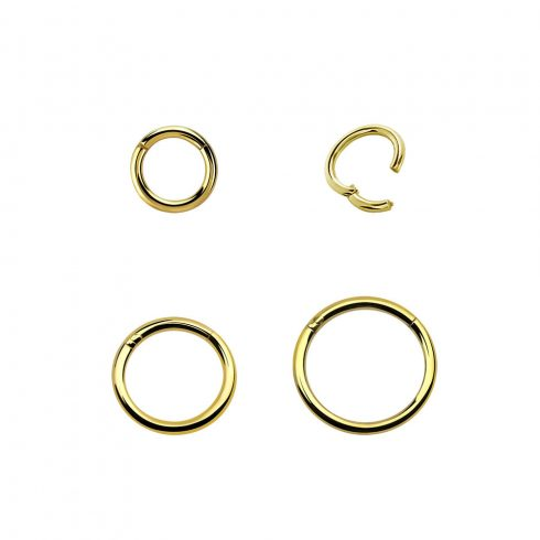 Aranyszínű pvd, csuklós szegmenszáras, vékony karikapiercing - nostril, tragus, helix GP-BHRSN