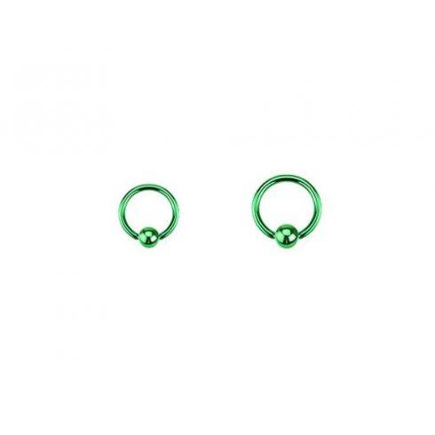 Zöld pvd golyózáras karikapiercing GR-BCR