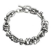 Nemesacél karkötő gyűrűkkel, súlyzókkal HBC-3039