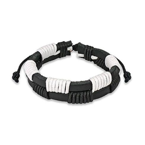 Fekete-fehér bőr karkötő csomózott sávokkal HBL0062