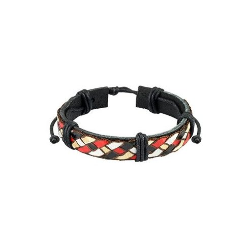 Black leather bracelet with glossy threaded weaves HBL0102