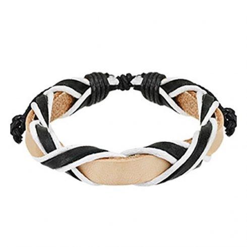Háromszínű fonott bőr karkötő HBL0159