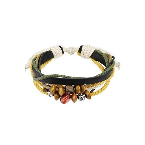 Fonatos textil-bőr karkötő gyöngyökkel HBL0162