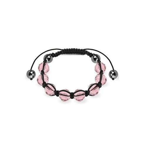 Bracelet with pink faceted balls and metallic beads HBSM-21