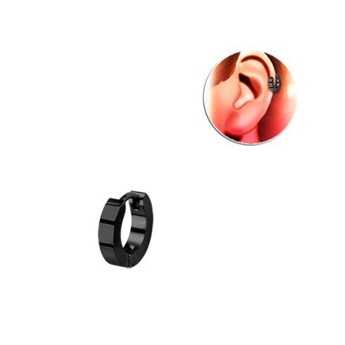 Fekete, szögletes keresztmetszetű sebészeti acél helixgyűrű HER248B