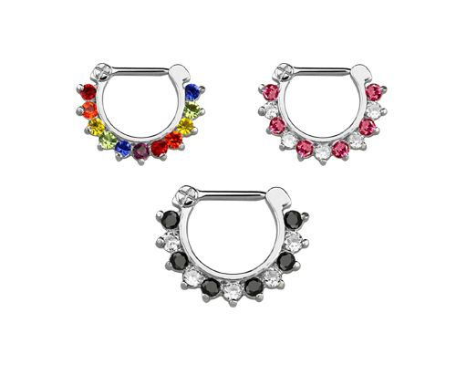 3fc166f1c Septum and Daith Clicker with CZ Stones JSCX16 - Hallmark Piercing and  Jewellery