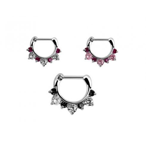 Septum and Daith Clicker with CZ Stones JSX16