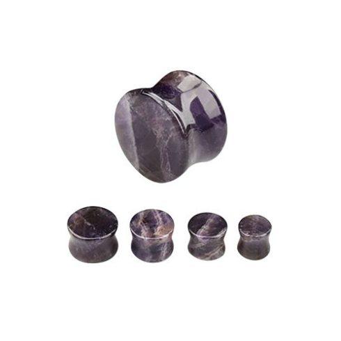 Ametiszt 12 mm-es fültágító dugó - természetes ásvány OAMPL-12