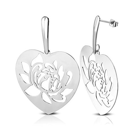 Cut-Out Filigree Lotus Flower Steel Earring OEMS579