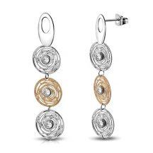 Rózsák - nemesacél fülbevaló cirkóniával OEMS712