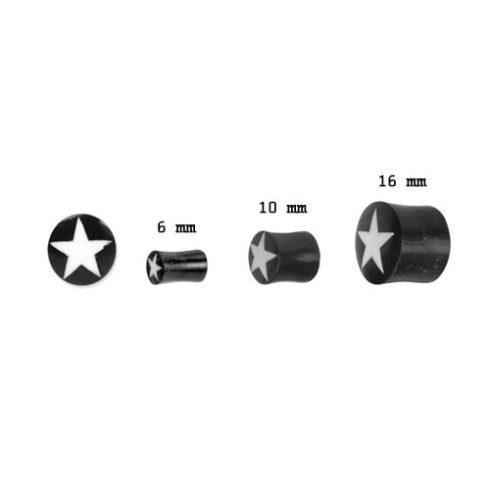 Szaru fültágító dugók  - fehér csillag OHOPL-03S