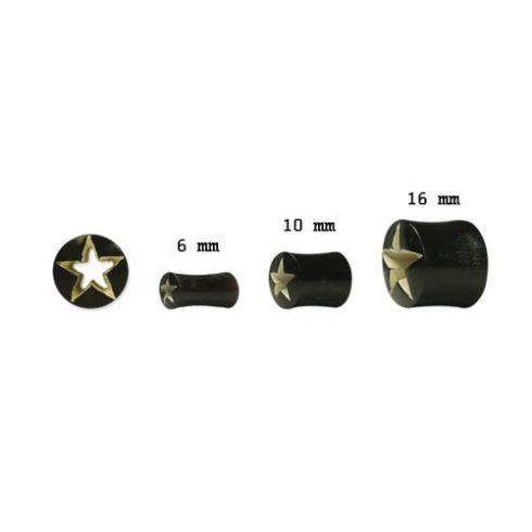Vízibölényszarv fültágító dugó - áttört csillag OHOPL-07S