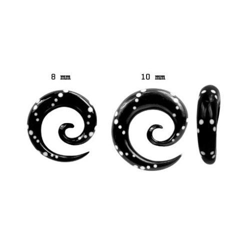 Pontok - szaruspirál fültágító 8 - 10 mm-ig fehér berakással OHOSP-03L
