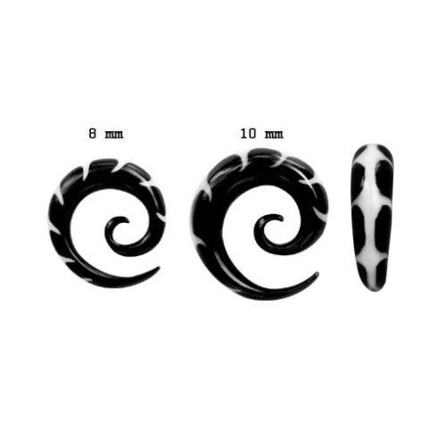 Halcsont - szaru fültágító spirál 8 - 10 mm-ig fehér berakással OHOSP-04L