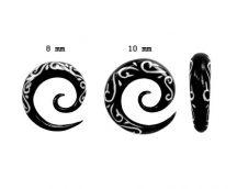 Tribal maori - fehér intarziás fültágító spirál 8 - 10 mm-ig  OHOSP-06L