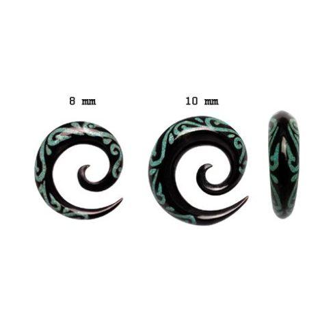 Tribal maori - türkiz intarziás szaru fültágító spirál 8 - 10 mm OHOSPT-06L