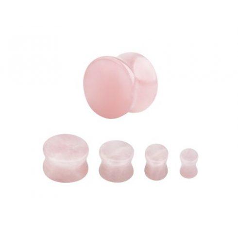 Rózsakvarc fültágító dugó, 3-4-5-6 mm - természetes ásvány ORQPL-3-6